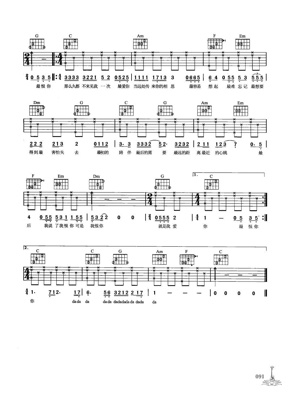 最天使 吉他谱 谱酷吉他谱 @pucool 最好的吉他谱网站